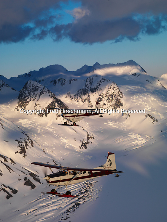 Sky Trekking Alaska's Cessna 180 and Cessna 185 on wheel-skis flying over the Chugach Mountains, Alaska.