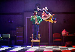 The Mad Hatter's Tea Party <br /> by Zoo Nation<br /> directed by Kate Prince<br /> presented by Zoo Nation, The Roundhouse & The Royal Opera House<br /> at The Roundhouse, London, Great Britain <br /> rehearsal <br /> 29th December 2016 <br /> <br /> <br /> Issac Turbo Baptiste<br /> as the Mad Hatter <br /> <br /> <br /> <br /> <br /> Jaith Betote as The White Rabbit <br /> <br /> Photograph by Elliott Franks <br /> Image licensed to Elliott Franks Photography Services