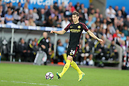 John Stones of Manchester city in action. Premier league match, Swansea city v Manchester city at the Liberty Stadium in Swansea, South Wales on Saturday 24th September 2016.<br /> pic by Andrew Orchard, Andrew Orchard sports photography.