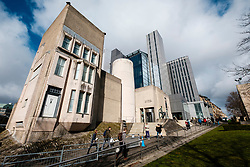 View of The Hunterian Museum and Art Gallery( Mackintosh House on the left)  and University Library at Glasgow University in Scotland, United Kingdom