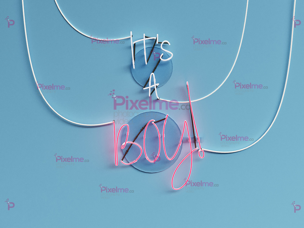 Its a Boy announcement neon sign over a blue background with Boy word in On - 3d rendering concept