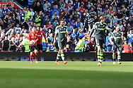 Cardiff city's Peter Whittingham (with ball) celebrates with Fraizer Campbell after he scores his sides 1st goal from a penalty.  Barclays Premier league match, Cardiff city  v Stoke city at the Cardiff city stadium in Cardiff, South Wales on Saturday 19th April 2014. pic by Andrew Orchard, Andrew Orchard sports photography,