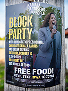 12 OCTOBER 2019 - DES MOINES, IOWA: A sign on a pole advertising a block party with Senator Kamala Harris (D-CA). Sen. Harris attended a neighborhood block party in Des Moines as a part of her campaign to be the Democratic nominee for the US presidency in 2020. Iowa traditionally holds the first selection of the presidential election cycle. The Iowa caucuses are Feb. 3, 2020.        PHOTO BY JACK KURTZ