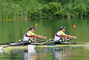 Lucerne, Switzerland.  GBR W2X, Bow,  Anna WATKINS [BEBINGTON] and Kathrine GRAINGER. Gold Medalist,  Women's double sculls. 2010 FISA World Cup. Lake Rotsee, Lucerne.  09:54:53   Sunday  11/07/2010.  [Mandatory Credit Peter Spurrier/ Intersport Images]