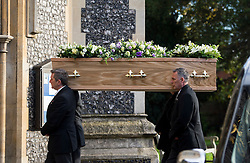 © Licensed to London News Pictures. 13/11/2015. London, UK.  The coffin entering the church at The funeral of former Labour MP Michael Meacher at St Mary's Church in Wimbledon, south west London.  Michael Meacher, who was a Labour MP in Oldham for over 40 years, served as Minister of State for the Environment in the Tony Blair government.  Photo credit: Ben Cawthra/LNP