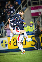 Falkirk's players celebrates after Rory Loy scored their goal. Falkirk 1 v 3 Rangers, Scottish League Cup game played 23/9/2014 at The Falkirk Stadium.