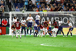 July 31, 2018 - Minneapolis, MN, U.S. - MINNEAPOLIS, MN - JULY 31: Tottenham Hotspur defends while Milan midfielder Hakan Calhanoglu (10) attempts his free kick in the 2nd half during the International Champions Cup match between Tottenham Hotspur FC and AC Milan on July 31, 2018 at U.S. Bank Stadium in Minneapolis, Minnesota. Tottenham defeated Milan 1-0. (Photo by David Berding/Icon Sportswire) (Credit Image: © David Berding/Icon SMI via ZUMA Press)
