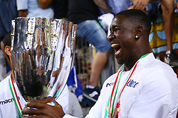 August 13, 2017 - Rome, Italy - Bastos of Lazio celebrating with the cup after the victory after winning the Italian SuperCup TIM football match Juventus vs Lazio on August 13, 2017 at the Olympic stadium in Rome. (Credit Image: © Matteo Ciambelli/NurPhoto via ZUMA Press)