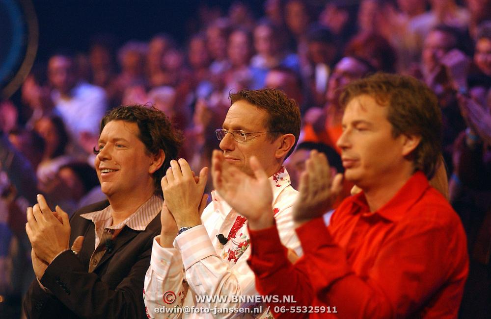 Opname Idols, jury, Henkjan Smits, Eric van Tijn en Edwin Jansen