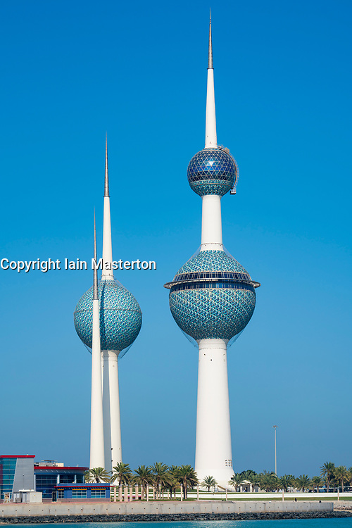 View of Kuwait Towers in Kuwait City, Kuwait
