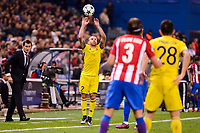 Atletico de Madrid's player Filipe Luis and CF Rostov's player Timofei Kalachev and Andrei Prepelita during a match of UEFA Champions League at Vicente Calderon Stadium in Madrid. November 01, Spain. 2016. (ALTERPHOTOS/BorjaB.Hojas)