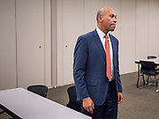 18 NOVEMBER 2019 - DES MOINES, IOWA: Former Governor DEVAL PATRICK (D-MA) waits to speak to Polk County Democrats in a holding area in Des Moines Monday night. Gov. Patrick made his first campaign trip to Iowa Monday after announcing his candidacy to be the Democratic nominee for the US Presidency. His stops included a meeting of the Polk County Democrats in Des Moines. Iowa hosts the first presidential selection event of the 2020 presidential election cycle. The Iowa Caucuses are Feb. 3, 2020.           PHOTO BY JACK KURTZ