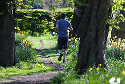 people enjoy the bright, warm sunny morning in Queens Park in North West London. London, April 18 2018.