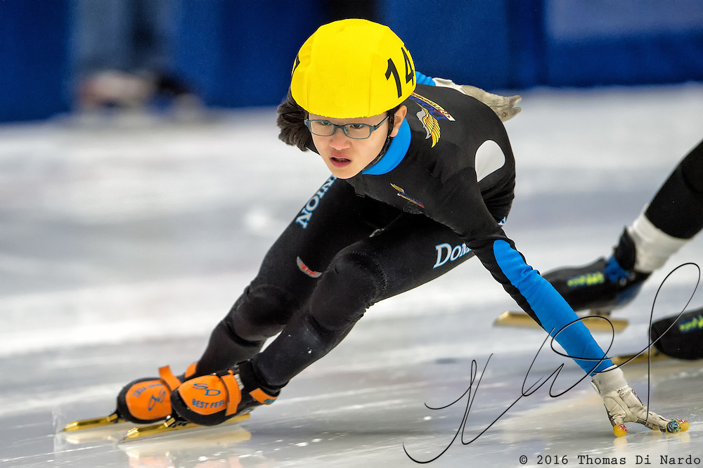 March 20, 2016 - Verona, WI - Kyubin Oh, skater number 147 competes in US Speedskating Short Track Age Group Nationals and AmCup Final held at the Verona Ice Arena.