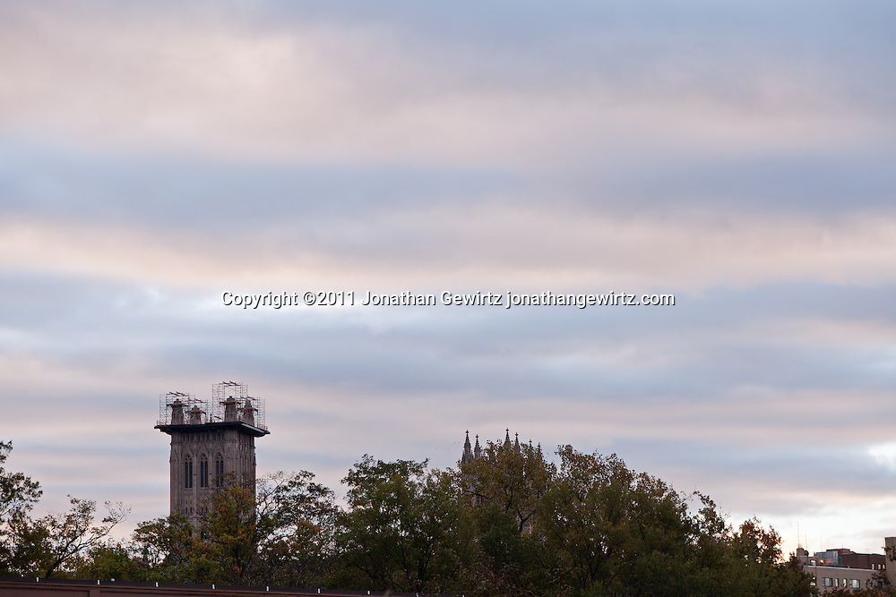 Scaffolding on one tower of the Washington National Cathedral on October 21, 2011 shows the scope of ongoing repairs after the August 23 earthquake. WATERMARKS WILL NOT APPEAR ON PRINTS OR LICENSED IMAGES.