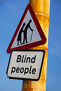 Blind people crossing sign on the sea front, 21st April 2021 in Blackpool, Lancashire, United Kingdom.