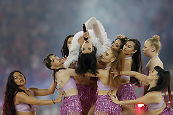 artist Dua Lipa during the UEFA Champions League final between Real Madrid and Liverpool on May 26, 2018 at NSC Olimpiyskiy Stadium in Kyiv, Ukraine