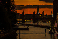 Romantic moments during sunset on the banks of the Spree, Berlin 2016.