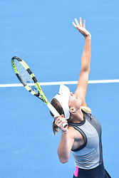 January 6, 2018 - Auckland, Auckland, New Zealand - Caroline Wozniacki of Denmark serves in her Quarter-final match against Sofia Kenin of USA during the WTA Women's Tournament at ASB Centre Count in Auckland, New Zealand on Jan 6, 2018She defeats Sofia Kenin in three set clash to advance to the Semi-final. (Credit Image: © Shirley Kwok/Pacific Press via ZUMA Wire)