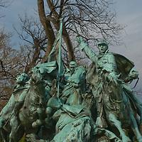 The dramatic Calvary Sculpture dominates the Ulysses S. Grant Memorial near the U.S. Capitol Building in Washington, D.C.
