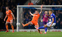Ipswich Town's Kayden Jackson under pressure from Blackpool's Jay Spearing<br /> <br /> Photographer Chris Vaughan/CameraSport<br /> <br /> The EFL Sky Bet League One - Ipswich Town v Blackpool - Saturday 23rd November 2019 - Portman Road - Ipswich<br /> <br /> World Copyright © 2019 CameraSport. All rights reserved. 43 Linden Ave. Countesthorpe. Leicester. England. LE8 5PG - Tel: +44 (0) 116 277 4147 - admin@camerasport.com - www.camerasport.com