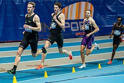 Thijmen Kupers, Djoao Lobles, Bram Buigel in action on the 800 meter during AA Drink Dutch Athletics Championship Indoor on 21 February 2021 in Apeldoorn.