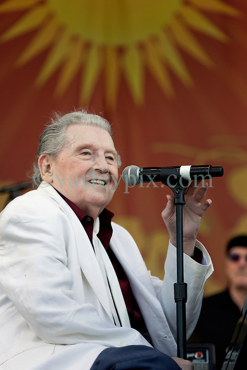 02 May 2015. New Orleans, Louisiana.<br /> The New Orleans Jazz and Heritage Festival. <br /> Music legend Jerry Lee Lewis plays the Acura stage.<br /> Photo; Charlie Varley/varleypix.com