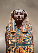 Ancient Egyptian wooden sarcophagus - the tomb of Tagiaset, Iuefdi & Harwa circa 25nd Dynasty (7th cent BC.) Thebes. Egyptian Museum, Turin.<br /> <br /> Possibly the sarcophagus of the daughter of Tagiaset. There is a depiction of a wesekh collar around the neck. .<br /> <br /> If you prefer to buy from our ALAMY PHOTO LIBRARY  Collection visit : https://www.alamy.com/portfolio/paul-williams-funkystock/ancient-egyptian-art-artefacts.html  . Type -   Turin   - into the LOWER SEARCH WITHIN GALLERY box. Refine search by adding background colour, subject etc<br /> <br /> Visit our ANCIENT WORLD PHOTO COLLECTIONS for more photos to download or buy as wall art prints https://funkystock.photoshelter.com/gallery-collection/Ancient-World-Art-Antiquities-Historic-Sites-Pictures-Images-of/C00006u26yqSkDOM