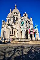 France, Paris (75), colline de Montmartre, la basilique du Sacré Coeur durant le confinement du Covid 19 // France, Paris, Montmartre, the Sacré Coeur Basilica during the containment of Covid 19