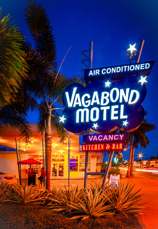 The iconic, Miami Modern (MiMo) style Vagabond Motel was designd by architect Robert Swartburg in 1953 and restored by redeveloper Avra Jain in 2013. It remains a landmark on Miami's Biscayne Boulevard.