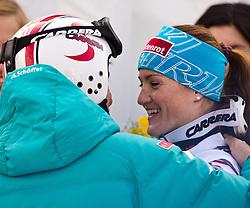 13.02.2011, Kandahar, Garmisch Partenkirchen, GER, FIS Alpin Ski WM 2011, GAP, Damen Abfahrt, im Bild ÖSV Präsident Peter Schröcksnadel gratuliert Goldmedaillen Gewinnerin und Weltmeisterin Elisabeth Goergl (AUT) // ÖSV Präsident Peter Schröcksnadel give his gratulation to World Champion and Gold Medal Winner Elisabeth Goergl (AUT) during womens Downhill, Fis Alpine Ski World Championships in Garmisch Partenkirchen, Germany on 13/2/2011, 2011, EXPA Pictures © 2011, PhotoCredit: EXPA/ J. Feichter