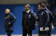 Brighton manager Chris Hughton during the Sky Bet Championship match between Brighton and Hove Albion and Leeds United at the American Express Community Stadium, Brighton and Hove, England on 24 February 2015.