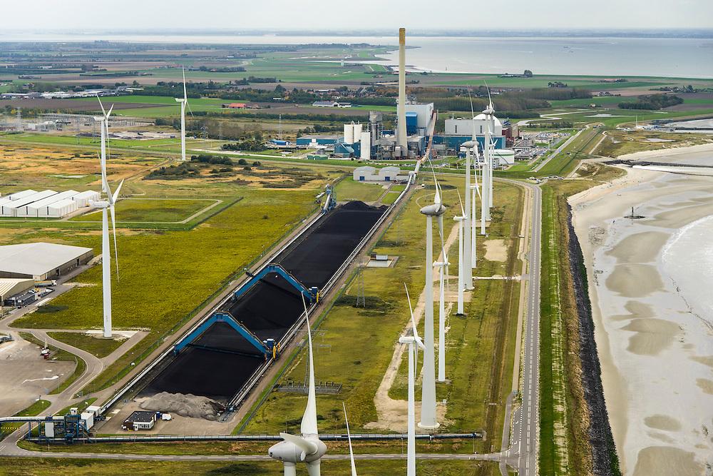 Nederland, Zeeland, Borssele, 23-10-2013;<br /> Kerncentrale Borssele in Zuid-Beveland aan de Westerschelde, Zeeuws Vlaanderen aan de horizon.<br /> Borssele nuclear power station in South Beveland on shore of the Westerschelde.<br /> luchtfoto (toeslag op standaard tarieven);<br /> aerial photo (additional fee required);<br /> copyright foto/photo Siebe Swart.