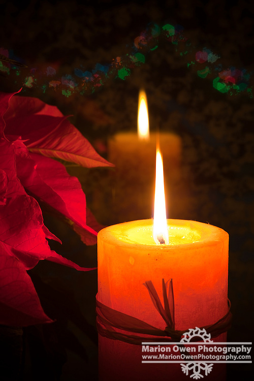 Christmas candle and Poinsettia plant reflections in window.