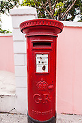 A British style public post box at the Government House in Nassau , Bahamas.
