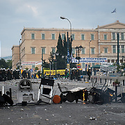 Burning barricade in Syntagma  (Constitution) square during the protests in Athens against the  unpopular austerity measures, June 29, 2011