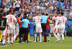SAMARA, June 17, 2018  Referees try to seperate players of Serbia and Costa Rica as they clash during a group E match between Costa Rica and Serbia at the 2018 FIFA World Cup in Samara, Russia, June 17, 2018. (Credit Image: © Fei Maohua/Xinhua via ZUMA Wire)