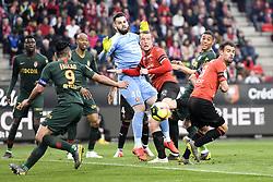 May 1, 2019 - Rennes, France - 40 TOMAS KOUBEK (REN) - 06 JAKOB JOHANSSON (REN) - 03 DAMIEN DA SILVA  (Credit Image: © Panoramic via ZUMA Press)