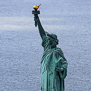 Aerial footage shows the Statue of Liberty during the Coronavirus (Covid-19) outbreak along with the continuing protests due to the police killing of George Floyd on Monday, June 1, 2020 in New York City.  Nonessential businesses have been closed and large gatherings have been banned across the state since March 22 under an emergency order issued by Governor Cuomo and an 11 p.m. curfew was ordered by NY Mayor Bill de Blasio amid the Floyd protests. (Alex Menendez via AP)