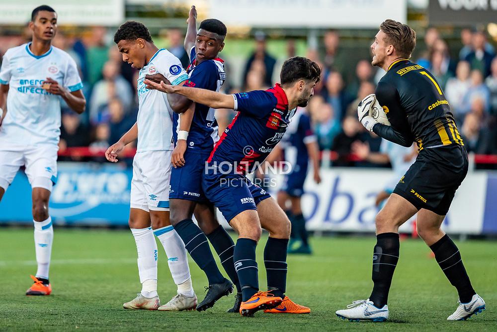 26-09-2018: Voetbal: Excelsior M v PSV: Maassluis<br /> 1e ronde (64) BV - Seizoen 2018-2019<br /> L-R #14 Donyell Malen (PSV), #18 Sekou Sylla, #20 Sefa Kurt, #1  Jean-Paul van Leeuwen (Excelsior M)
