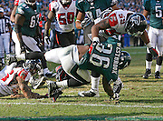 Running back Brian Westbrook runs during the game between the Philadelphia Eagles and the Atlanta Falcons at Lincoln Financial Field in Philadelphia, Pennsylvania on October 26, 2008.