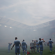 HARRISON, NEW JERSEY- JULY 24: NYCFC players take on water before the start of play in searing heat after fireworks greeted the teams before kick off during the New York Red Bulls Vs New York City FC MLS regular season match at Red Bull Arena, Harrison, New Jersey on July 24, 2016 in Harrison, New Jersey. (Photo by Tim Clayton/Corbis via Getty Images)