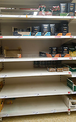 © Licensed to London News Pictures. 15/10/2021. London, UK. Empty shelves of Pasta in Sainsbury's, north London, amid fears of food shortages. The Government and retailers warn that food shortages could continue until Christmas due to labour shortages, following Brexit. Study research, conducted by delivery management experts Urbantz, reports that one in six Londoners reported that when they went food shopping, items they needed were not available and they could not find a replacement, while half of respondents said there was less variety of food in the shops than usual. Another 1-in-6 London residents were also unable to purchase fuel in the last fortnight. Photo credit: Dinendra Haria/LNP