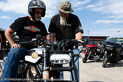 Harley-Davidson test rides from the Full Throttle Saloon during the Sturgis Motorcycle Rally. SD, USA. Thursday, August 12, 2021. Photography ©2021 Michael Lichter.