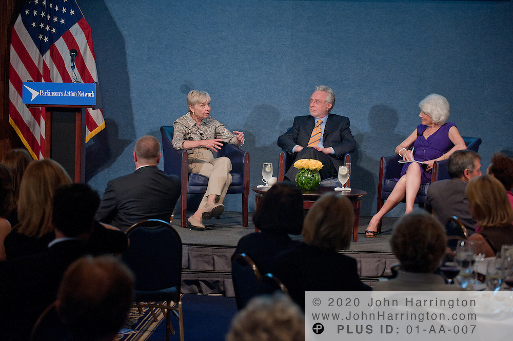 Eleanor Clift (L) Newsweek, Wolf Blitzer (C) CNN, and Diane Rehm (R) NPR host and dinner Co-chair honor Morton Kondracke former Roll Call executive editor and current FOX News contributor for his work advocating for Parkinson's, at the National Press Club in Washington, DC on September 14th, 2011.
