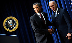 """File photo dated December 17, 2010 of US President Barack Obama shakes hands with Vice President Joe Biden prior to sign the middle-class tax cut bill in the South Court Auditorium in Washington, DC, USA on December 17, 2010. Former President Barack Obama endorsed Joe Biden, his two-term vice president, on Tuesday morning in the race for the White House. """"Choosing Joe to be my vice president was one of the best decisions I ever made, and he became a close friend. And I believe Joe has all the qualities we need in a president right now,"""" Obama said in a video posted to Twitter. Photo by Olivier Douliery/ABACAPRESS.COM"""