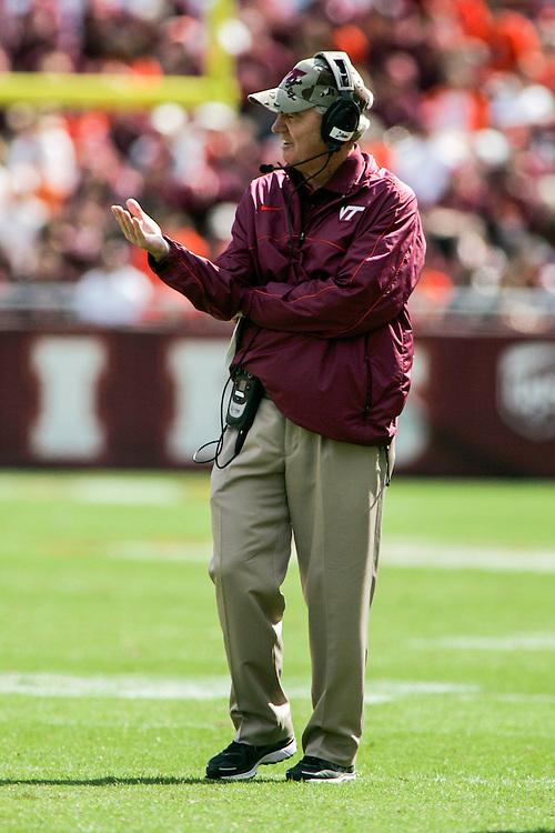 Sept 22, 2012; Blacksburg, VA, USA; Virginia Tech Hokies head coach Frank Beamer during the game against the Bowling Green Falcons at Lane Stadium. Mandatory Credit: Peter Casey-US PRESSWIRE