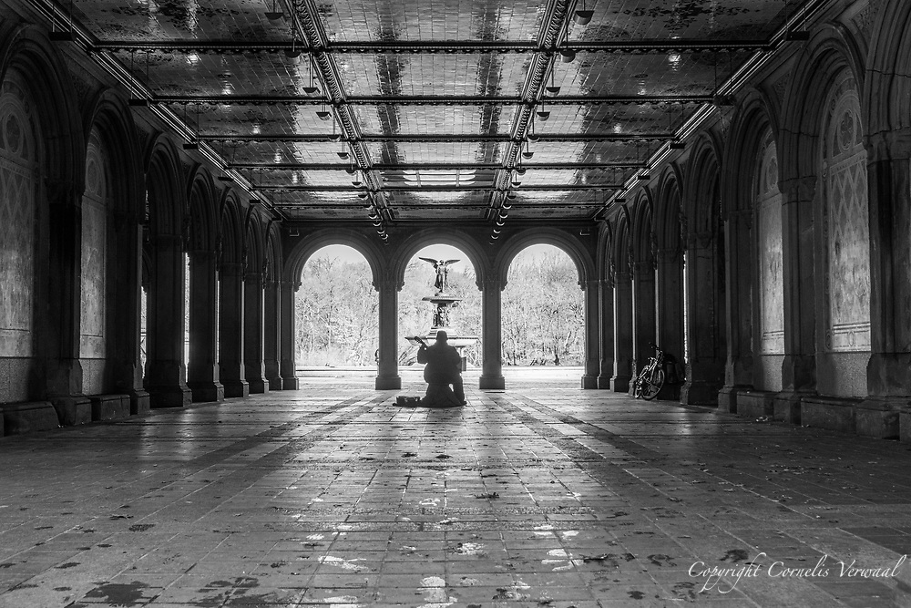 Every day throughout the pandemic, no matter what the weather is like, he has been playing beautiful music at Bethesda Terrace in Central Park, Monday Jan. 3, 2021