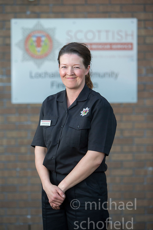 Heather Brown. News feature on the nearly all-female firefighting crew based at the Fire Shed, Lochaline, on the Morvern Peninsula.