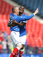 Rangers v St Mirren<br /> Scottish Cup Semi Final<br /> Hampden Park<br /> Glasgow<br /> 25th April 2009<br /> <br /> Kenny Miller celebrates his goal with Maurice Edu<br /> <br /> Ian MacNicol - Colorsport<br /> <br /> Email: info@colorsport.co.uk<br /> Telephone: 01306 712233<br /> Fax: 01306 712260<br /> <br /> Address<br /> The Old Sawmill<br /> Rusper Road<br /> CAPEL<br /> Surrey<br /> RH5 5HF<br /> <br /> Registration: registration@colorsport.co.uk<br /> Sales: sales@colorsport.co.uk<br /> Enquiries: ask@colorsport.co.uk